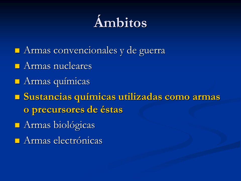 Ámbitos Armas convencionales y de guerra Armas nucleares