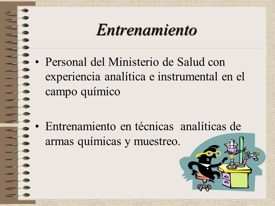 Entrenamiento Personal del Ministerio de Salud con experiencia analítica e instrumental en el campo químico.