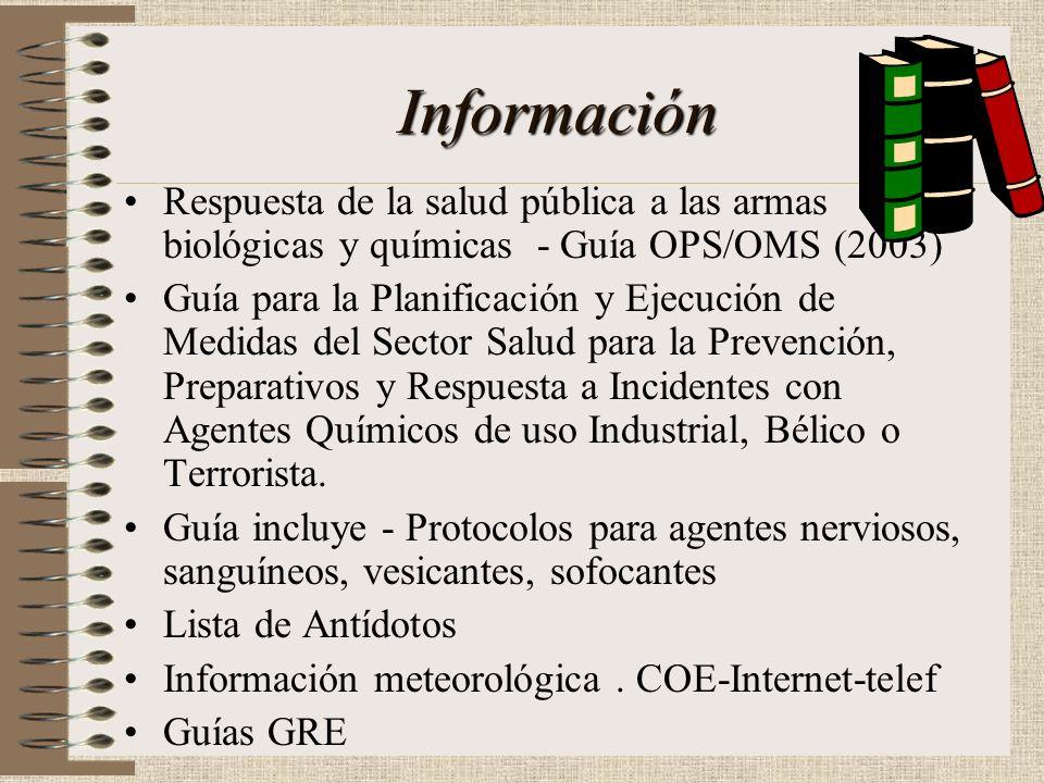 Información Respuesta de la salud pública a las armas biológicas y químicas - Guía OPS/OMS (2003)
