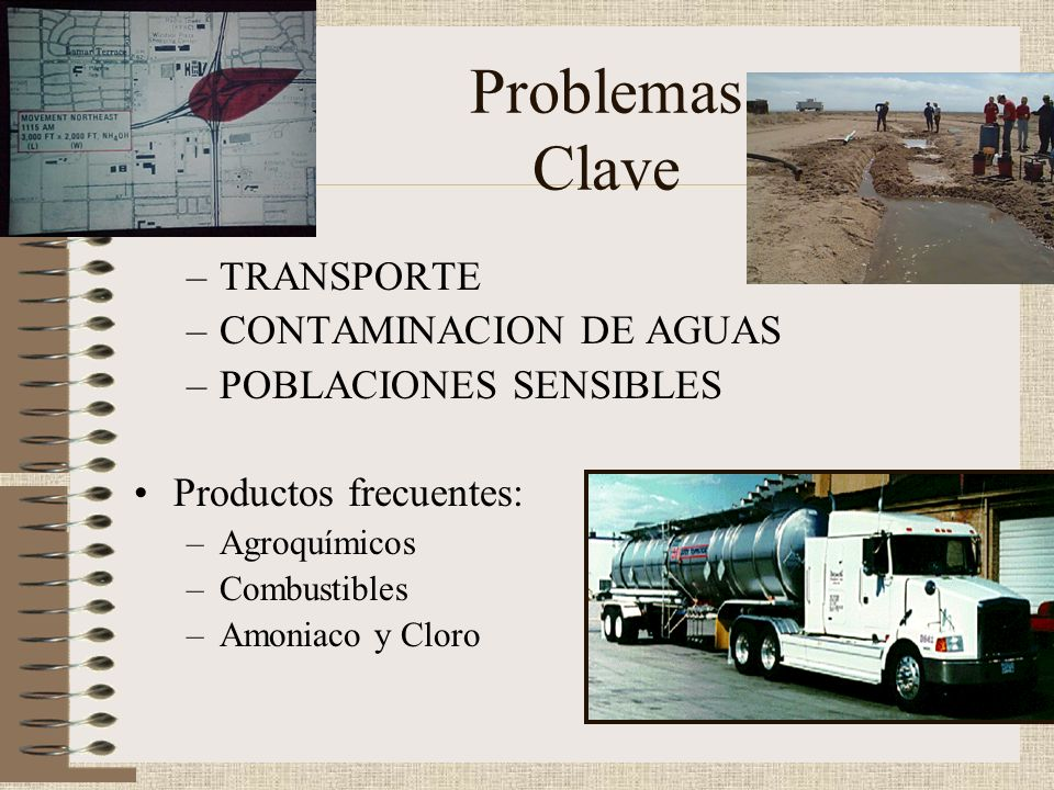 Problemas Clave TRANSPORTE CONTAMINACION DE AGUAS