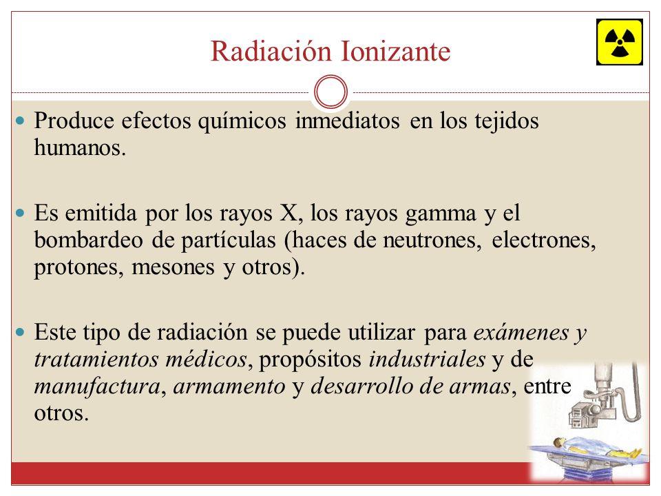 Radiación Ionizante Produce efectos químicos inmediatos en los tejidos humanos.