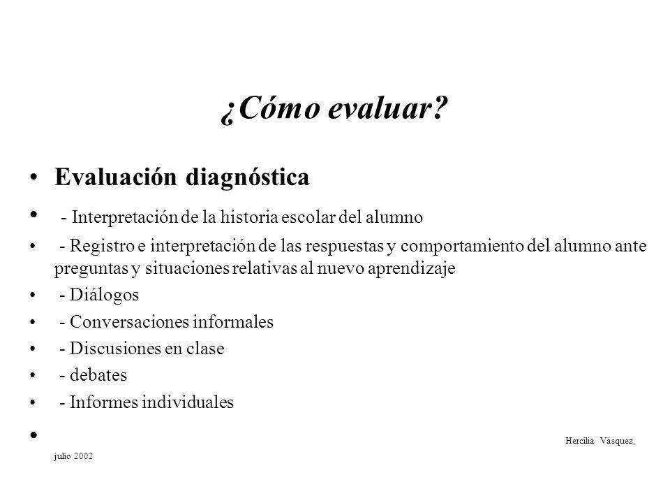 ¿Cómo evaluar Evaluación diagnóstica
