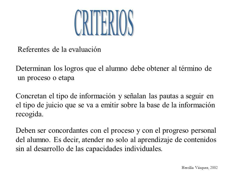 CRITERIOS Referentes de la evaluación
