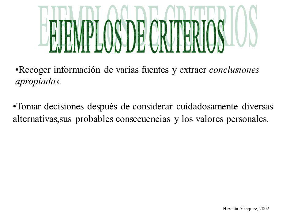 EJEMPLOS DE CRITERIOSRecoger información de varias fuentes y extraer conclusiones apropiadas.