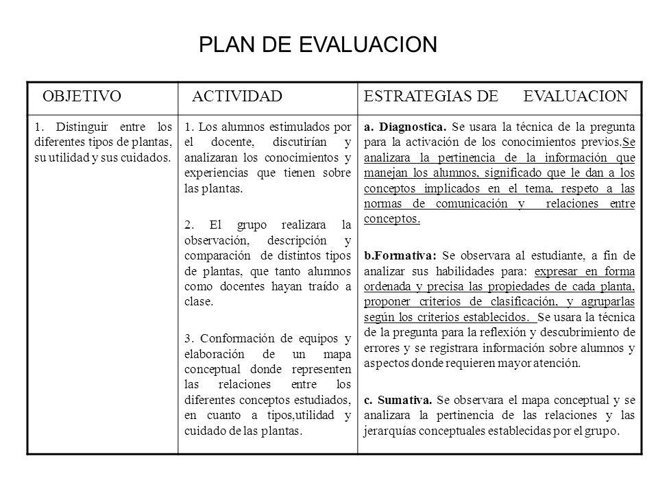 PLAN DE EVALUACION OBJETIVO ACTIVIDAD ESTRATEGIAS DE EVALUACION