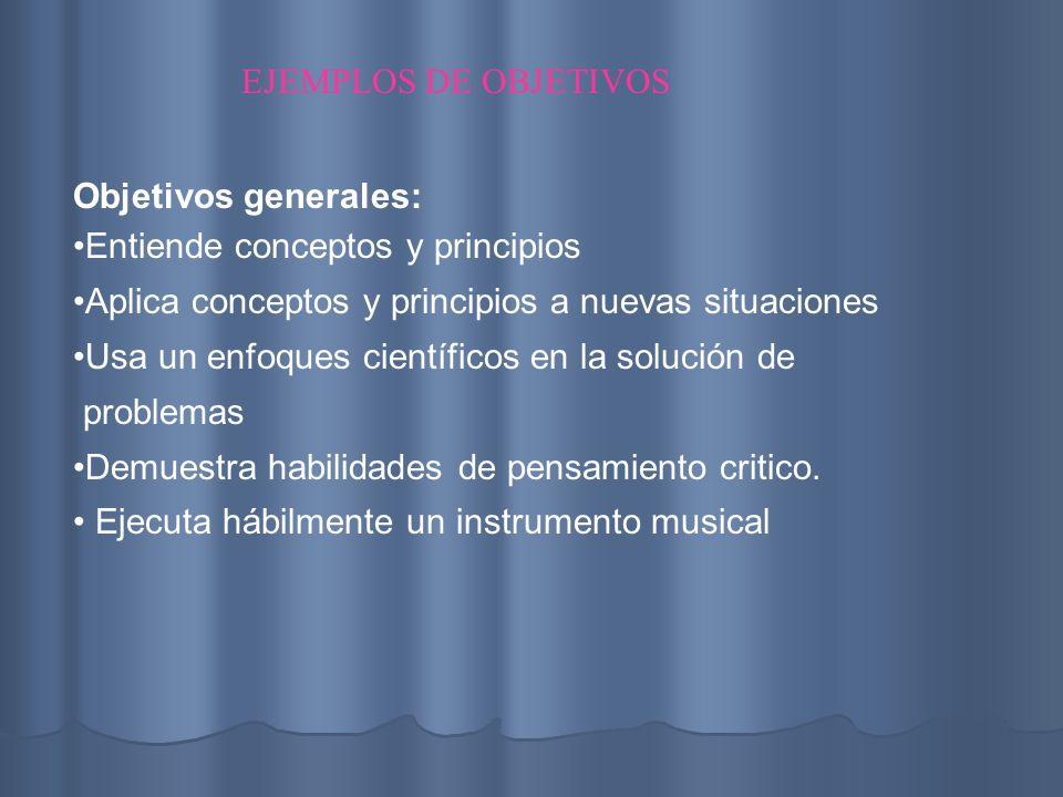 EJEMPLOS DE OBJETIVOS Objetivos generales: Entiende conceptos y principios. Aplica conceptos y principios a nuevas situaciones.