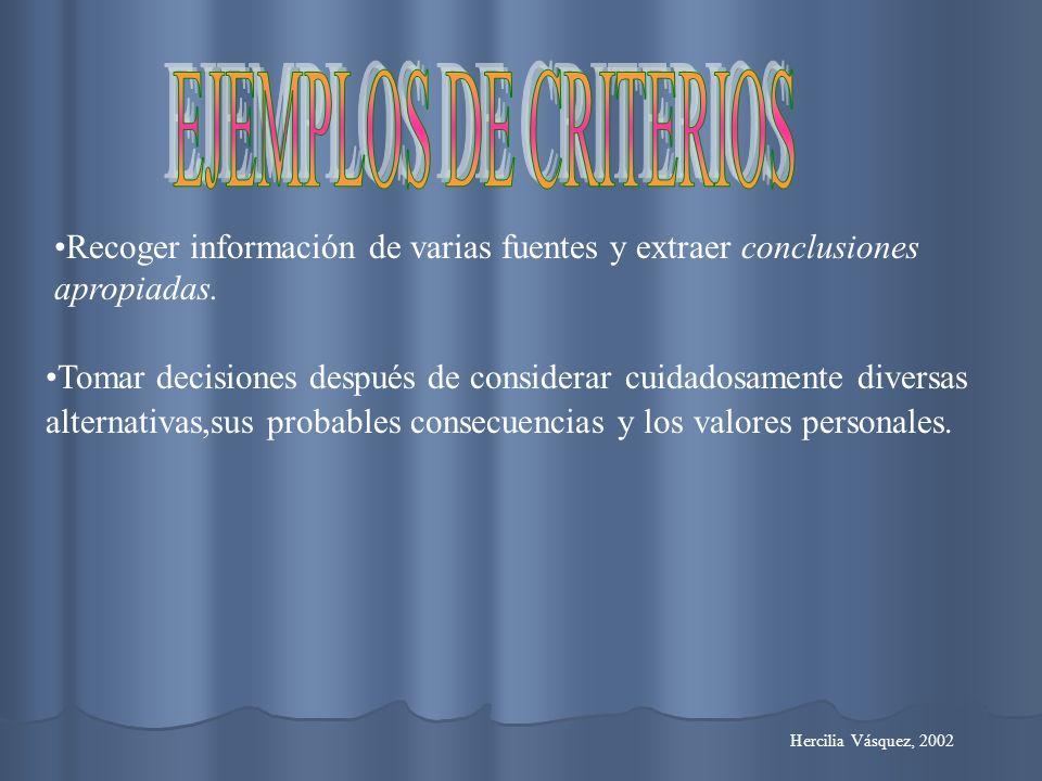EJEMPLOS DE CRITERIOS Recoger información de varias fuentes y extraer conclusiones apropiadas.