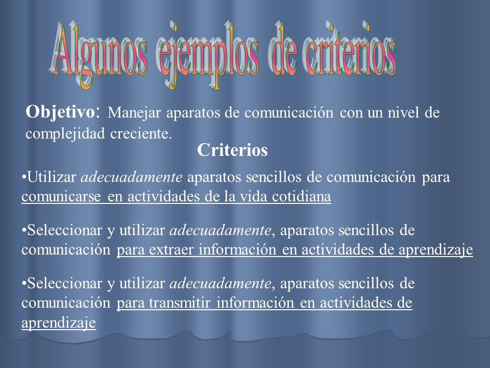 Algunos ejemplos de criterios