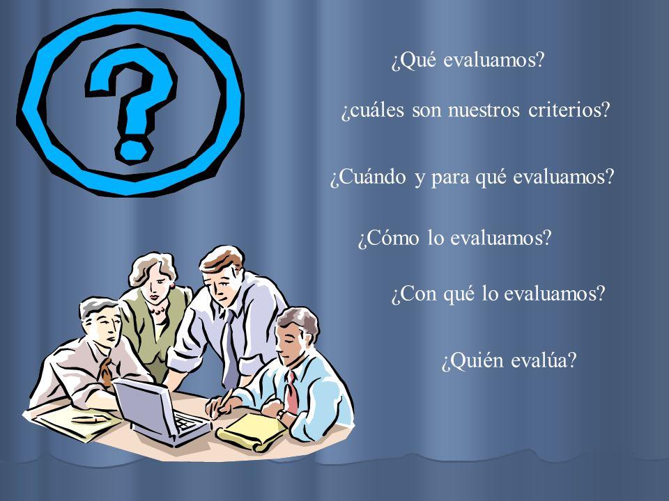 ¿Qué evaluamos ¿cuáles son nuestros criterios ¿Cuándo y para qué evaluamos ¿Cómo lo evaluamos