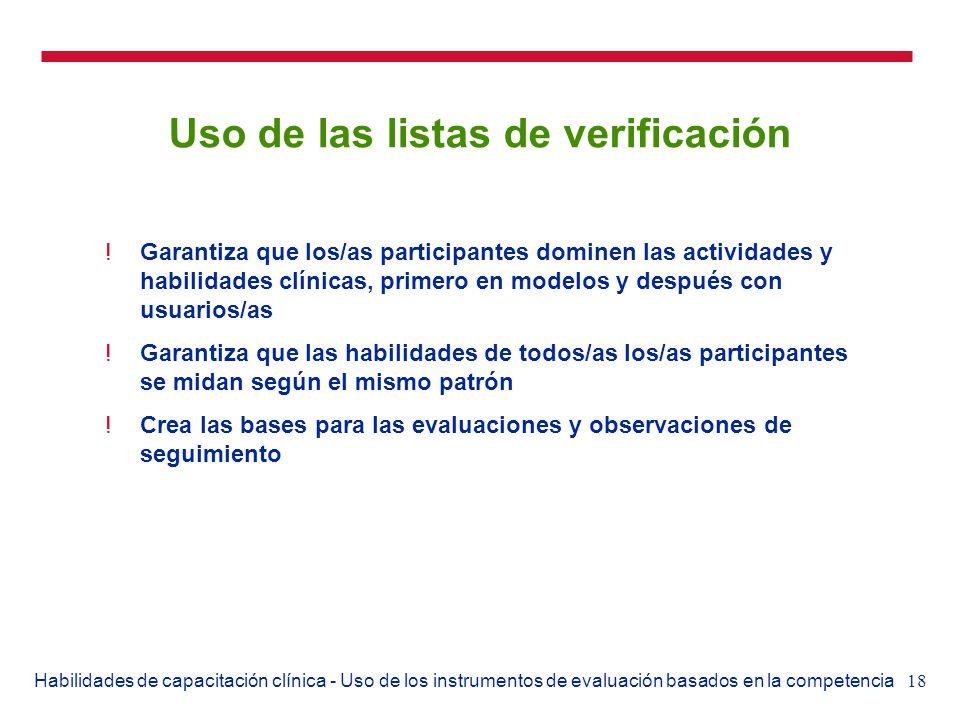 Uso de las listas de verificación