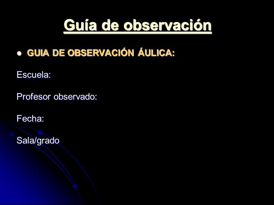 Guía de observación GUIA DE OBSERVACIÓN ÁULICA: Escuela: