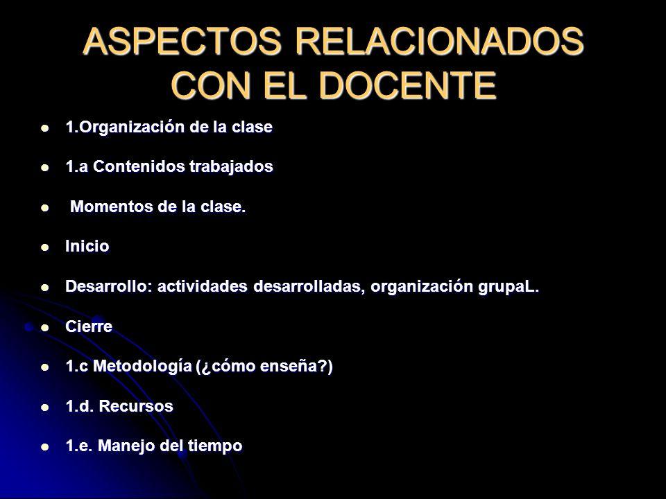 ASPECTOS RELACIONADOS CON EL DOCENTE
