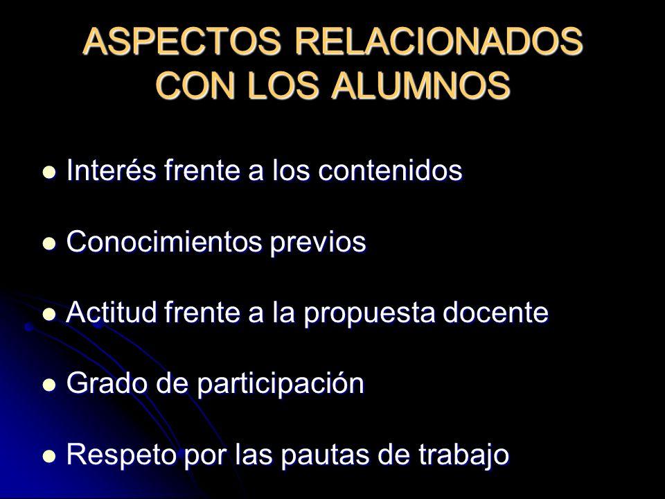 ASPECTOS RELACIONADOS CON LOS ALUMNOS