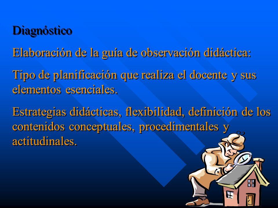 DiagnósticoElaboración de la guía de observación didáctica: Tipo de planificación que realiza el docente y sus elementos esenciales.