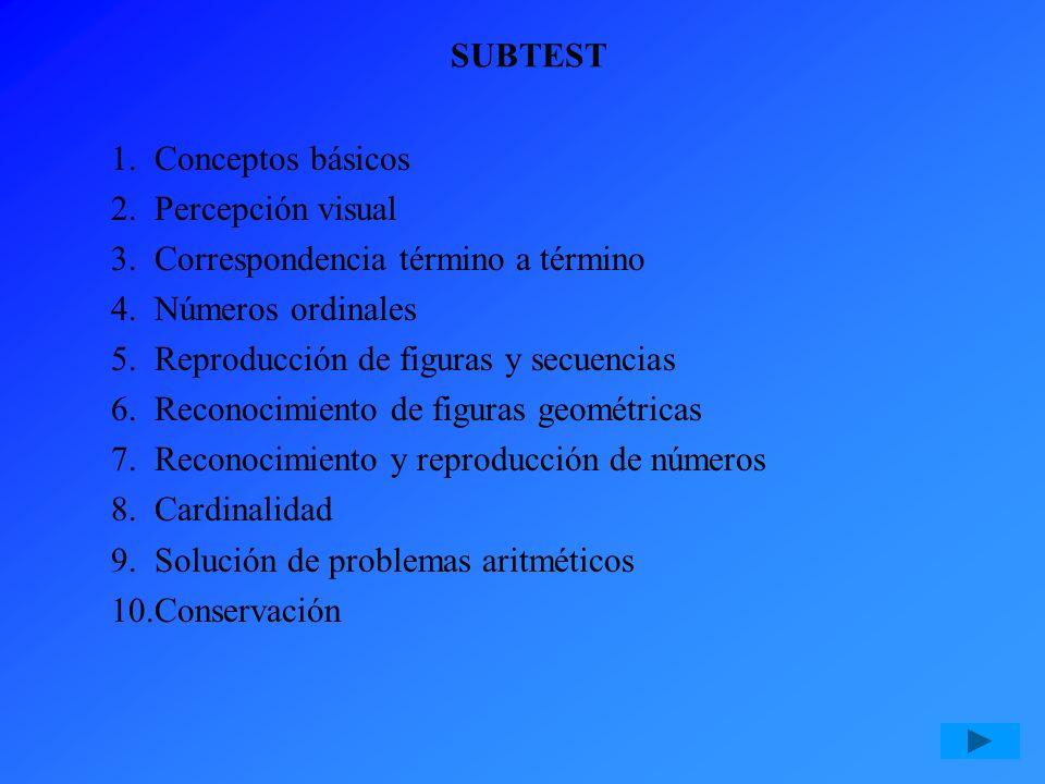 SUBTEST Conceptos básicos Percepción visual