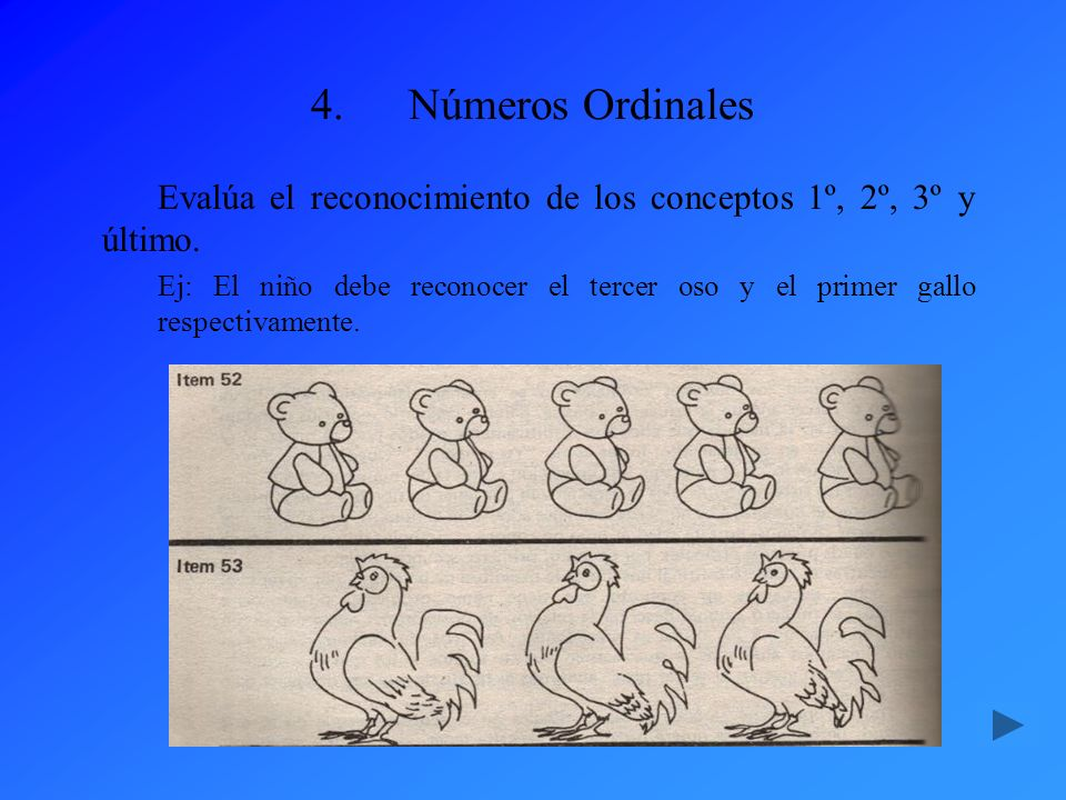 Números Ordinales Evalúa el reconocimiento de los conceptos 1º, 2º, 3º y último.
