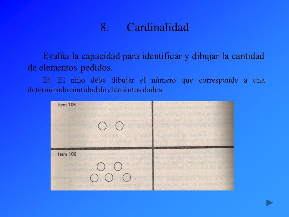 Cardinalidad Evalúa la capacidad para identificar y dibujar la cantidad de elementos pedidos.