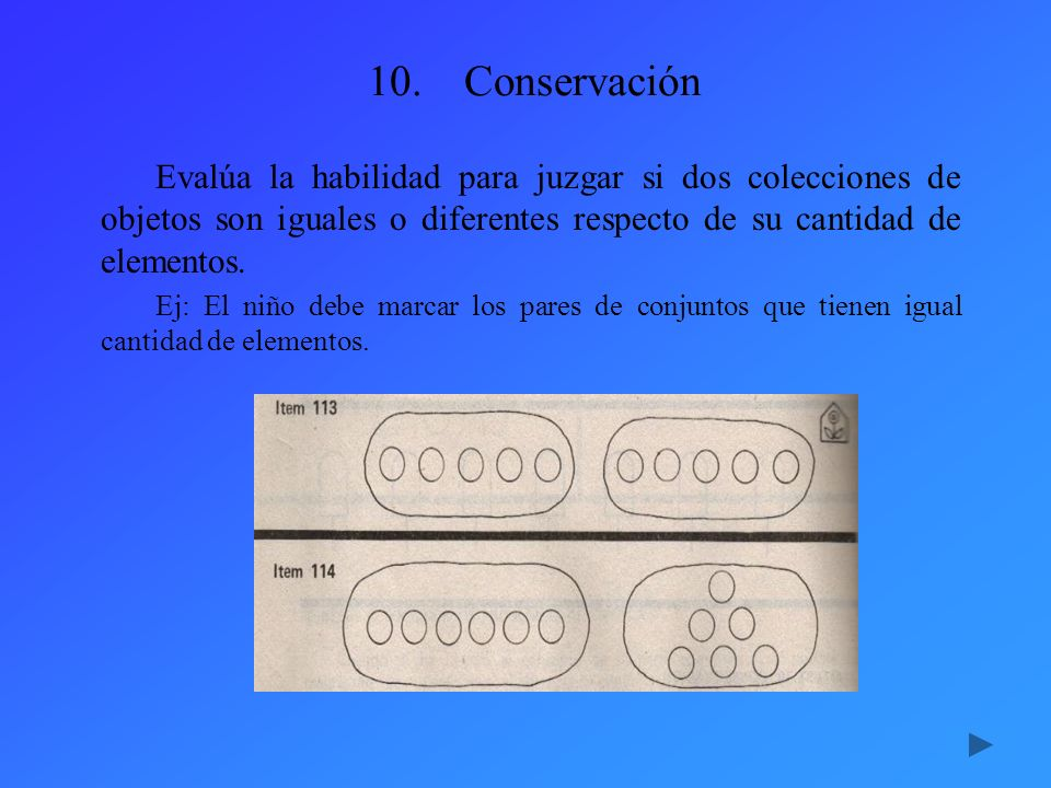 Conservación Evalúa la habilidad para juzgar si dos colecciones de objetos son iguales o diferentes respecto de su cantidad de elementos.