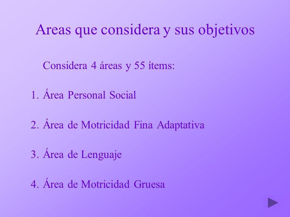 Areas que considera y sus objetivos