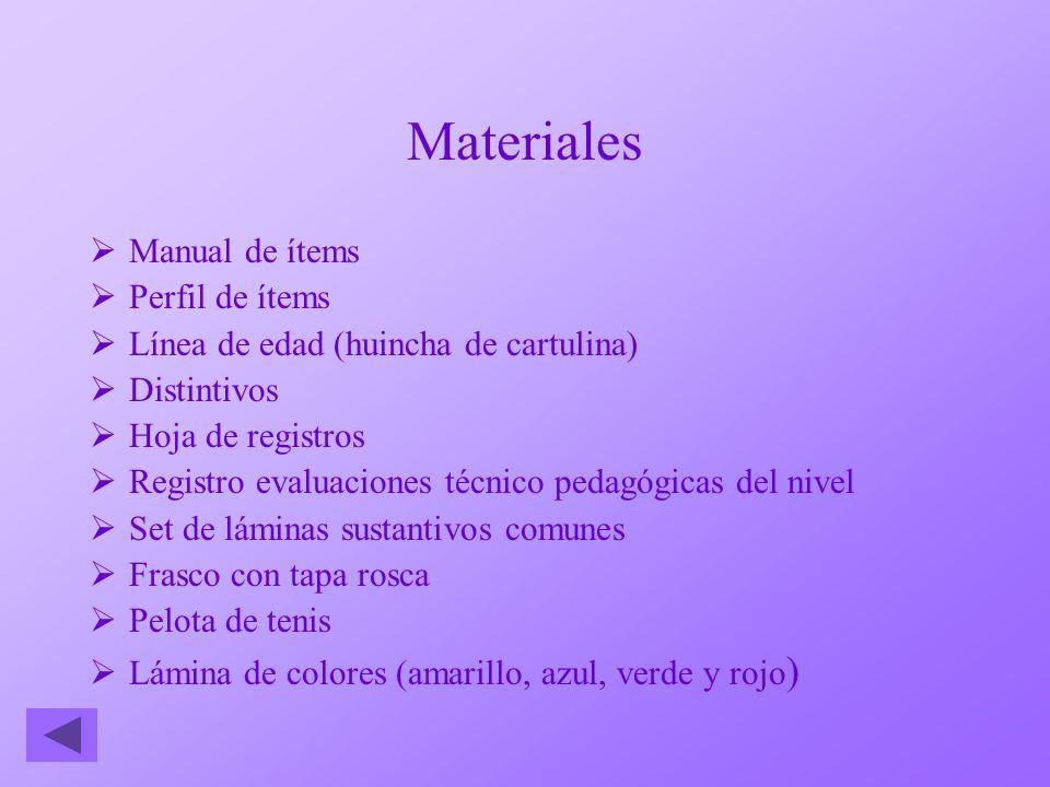 Materiales Manual de ítems Perfil de ítems