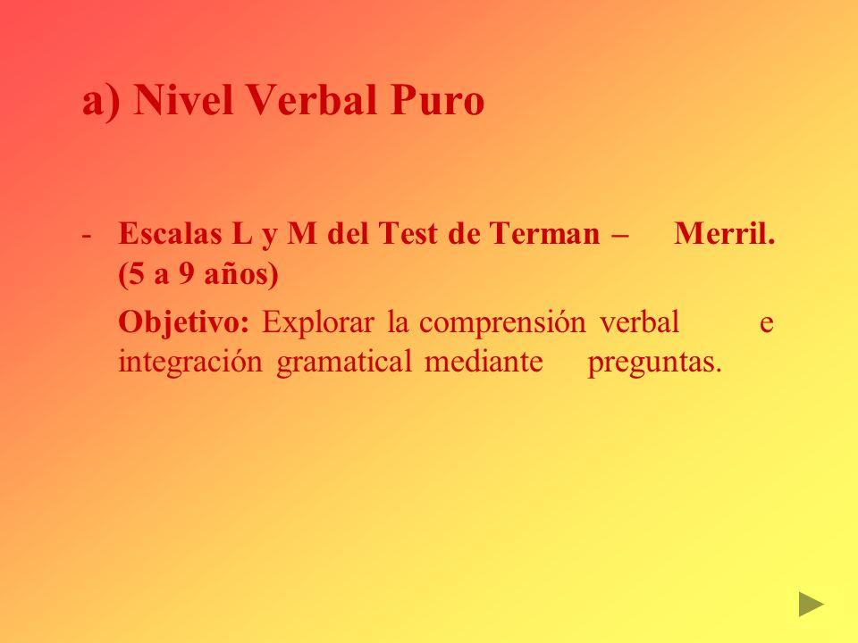 Nivel Verbal Puro Escalas L y M del Test de Terman – Merril. (5 a 9 años)