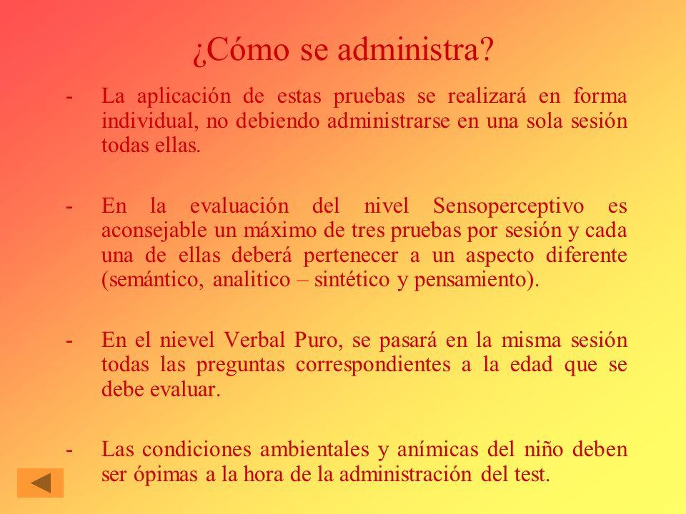 ¿Cómo se administra La aplicación de estas pruebas se realizará en forma individual, no debiendo administrarse en una sola sesión todas ellas.