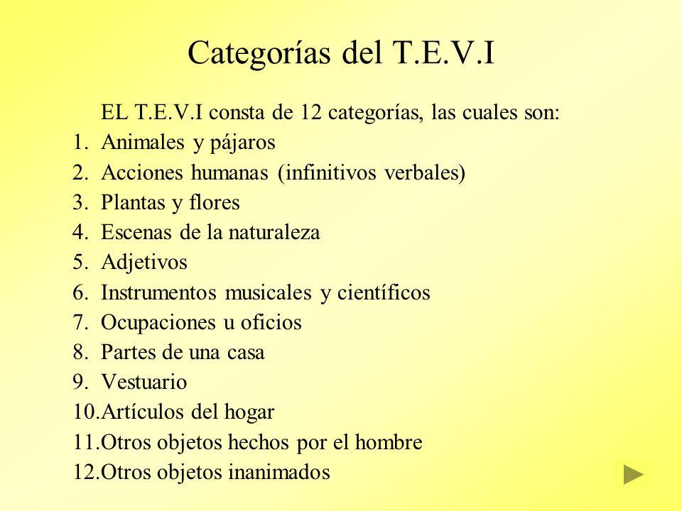 Categorías del T.E.V.I EL T.E.V.I consta de 12 categorías, las cuales son: Animales y pájaros. Acciones humanas (infinitivos verbales)