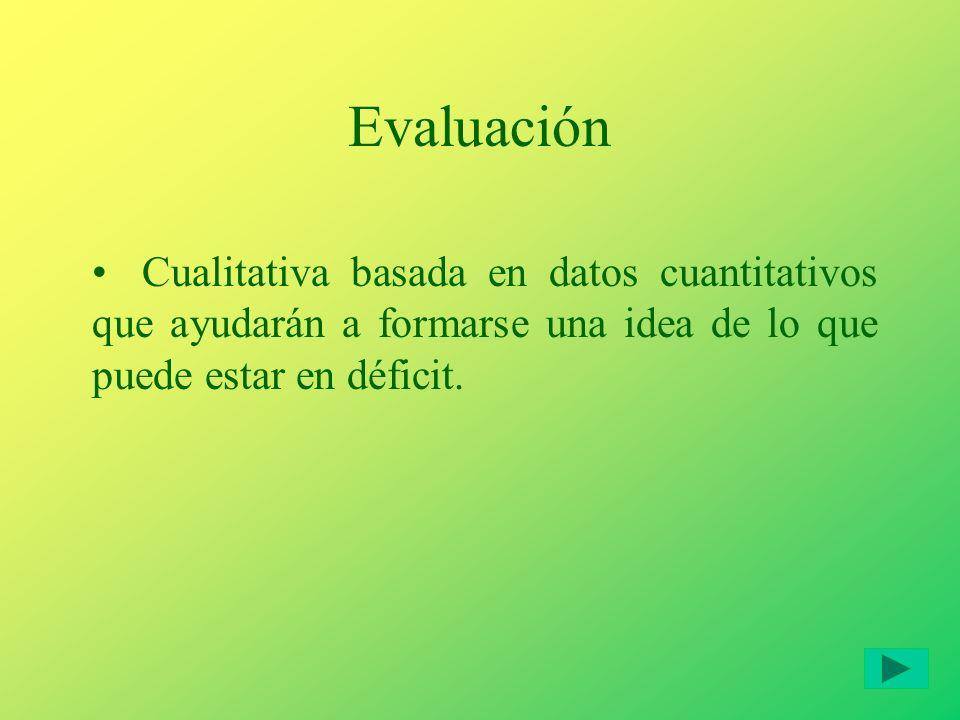 Evaluación Cualitativa basada en datos cuantitativos que ayudarán a formarse una idea de lo que puede estar en déficit.