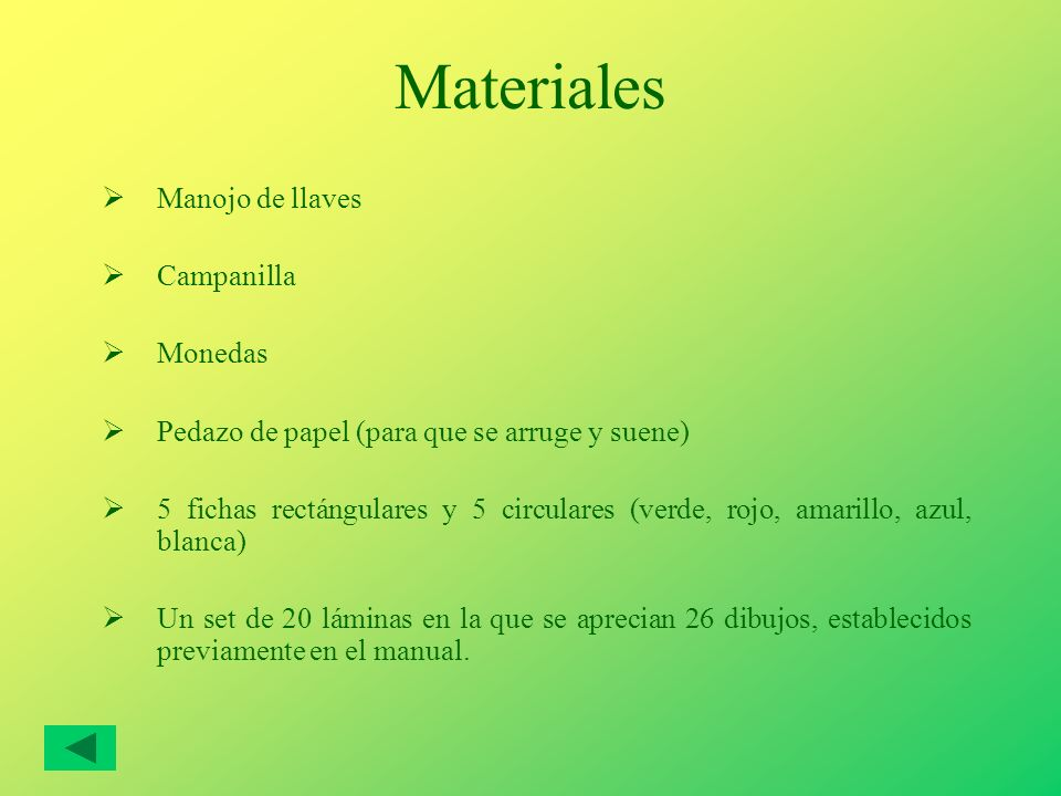Materiales Manojo de llaves Campanilla Monedas