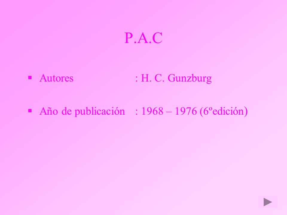 P.A.C Autores : H. C. Gunzburg
