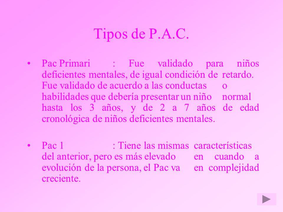 Tipos de P.A.C.
