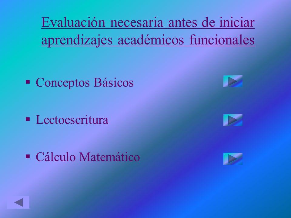 Evaluación necesaria antes de iniciar aprendizajes académicos funcionales