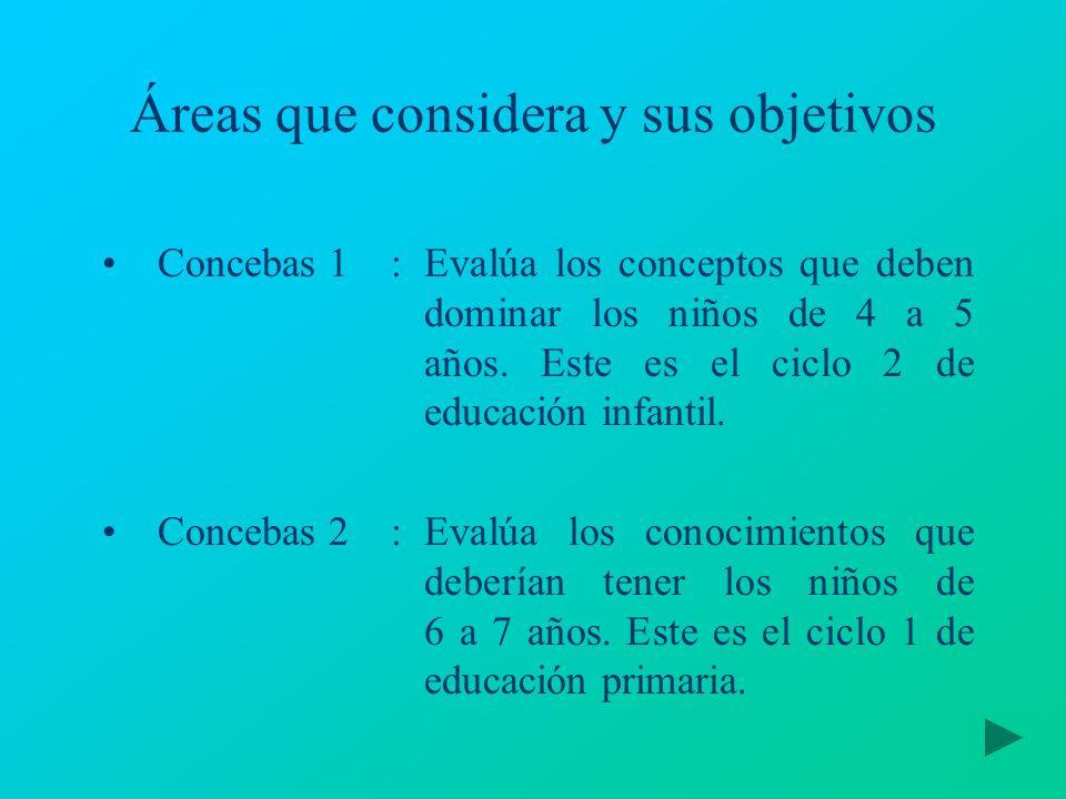 Áreas que considera y sus objetivos