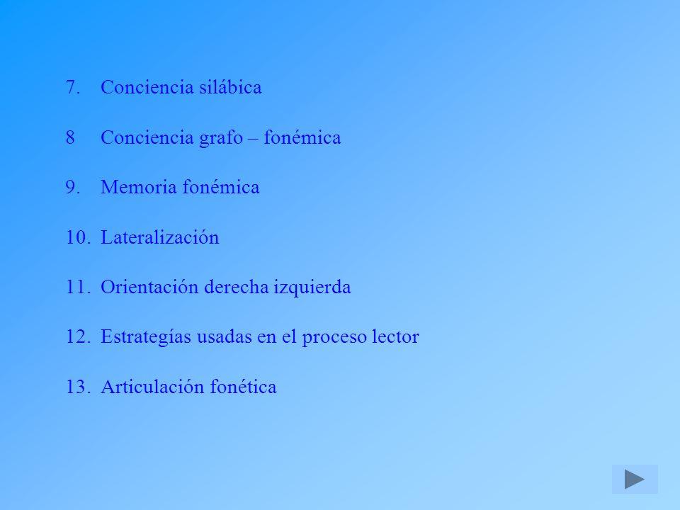 Conciencia silábica. 8. Conciencia grafo – fonémica. 9
