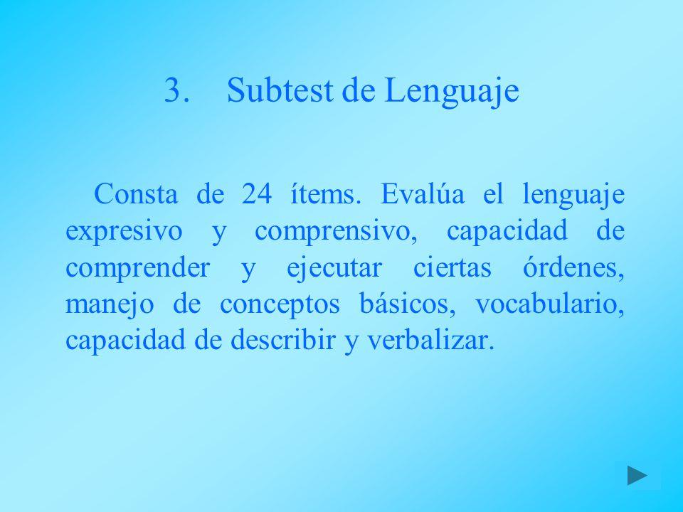 Subtest de Lenguaje