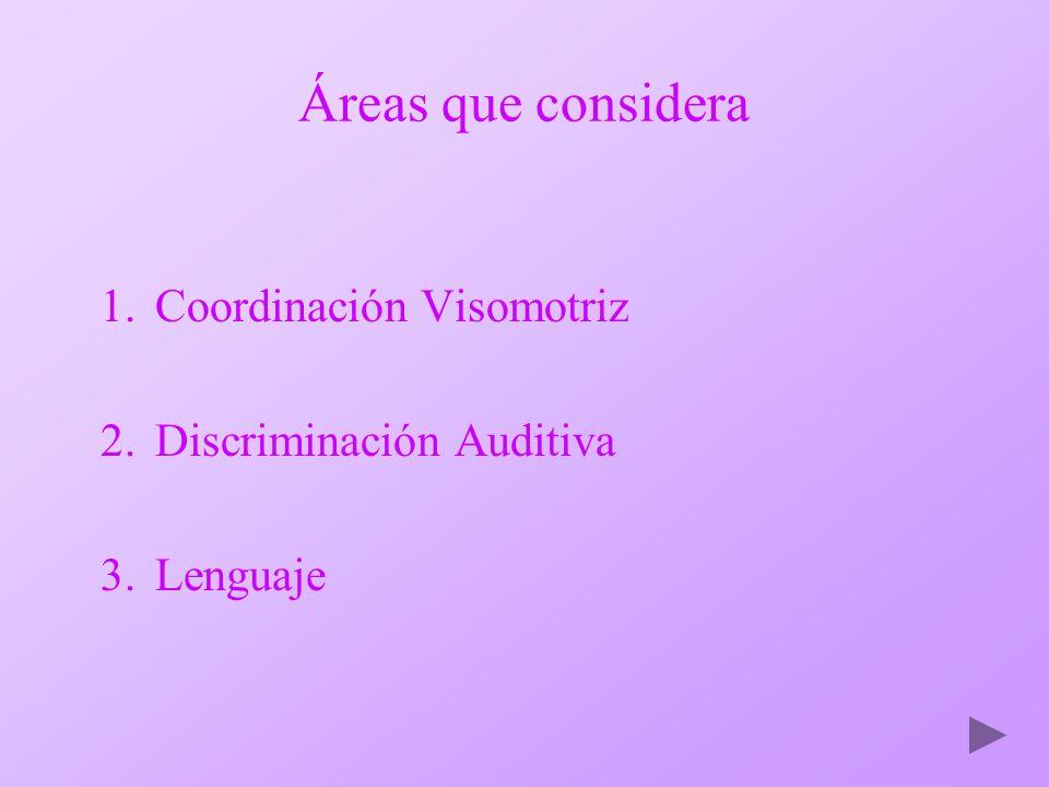 Áreas que considera Coordinación Visomotriz Discriminación Auditiva
