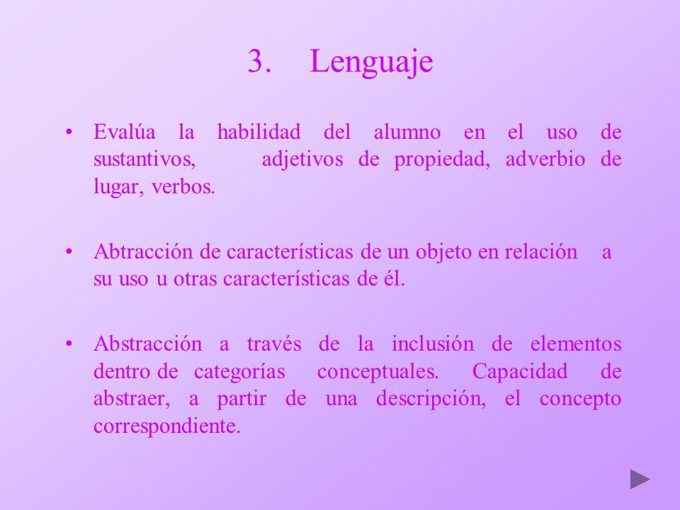 Lenguaje Evalúa la habilidad del alumno en el uso de sustantivos, adjetivos de propiedad, adverbio de lugar, verbos.