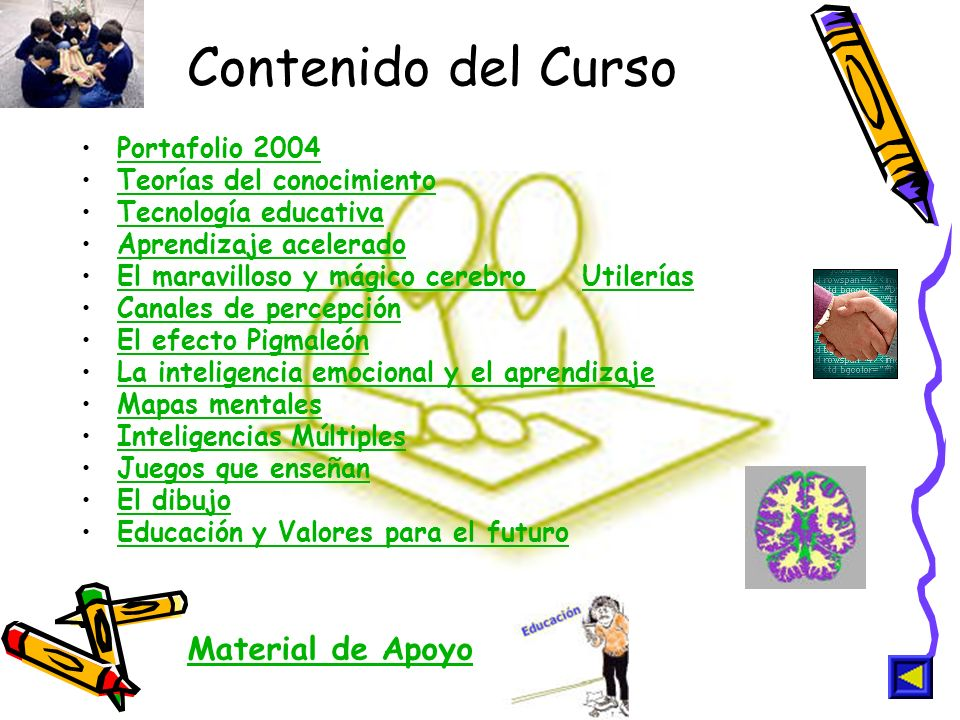 Contenido del Curso Material de Apoyo Portafolio 2004