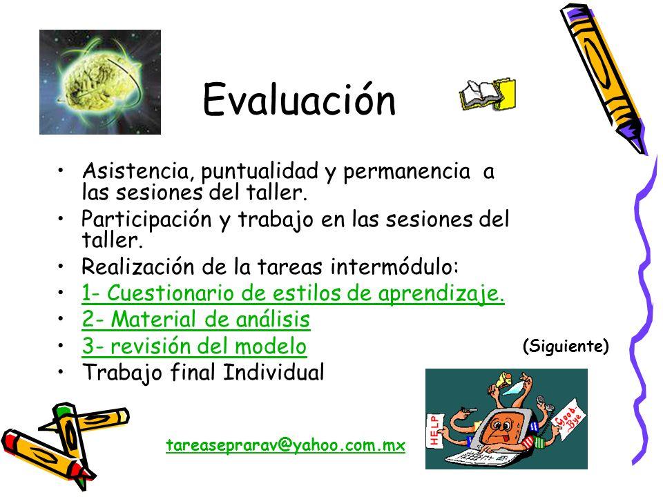 Evaluación Asistencia, puntualidad y permanencia a las sesiones del taller. Participación y trabajo en las sesiones del taller.