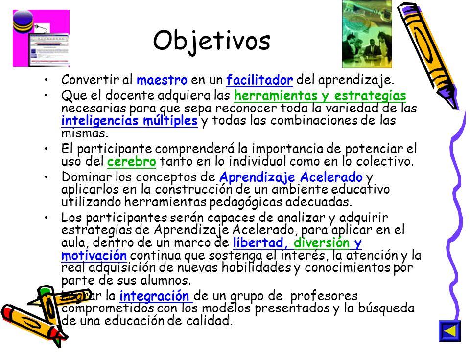 Objetivos Convertir al maestro en un facilitador del aprendizaje.