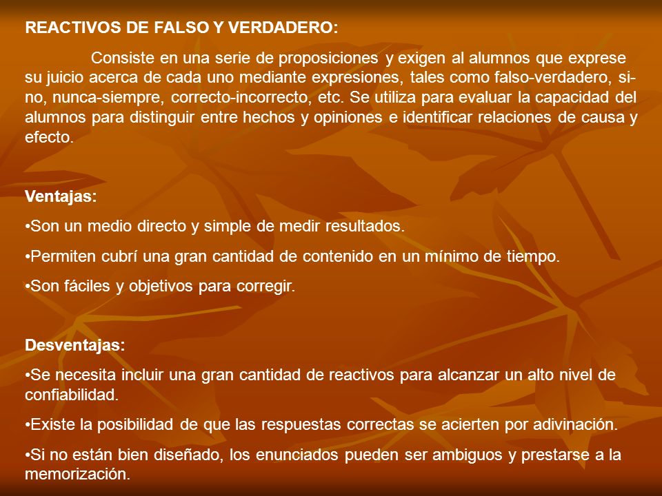 REACTIVOS DE FALSO Y VERDADERO: