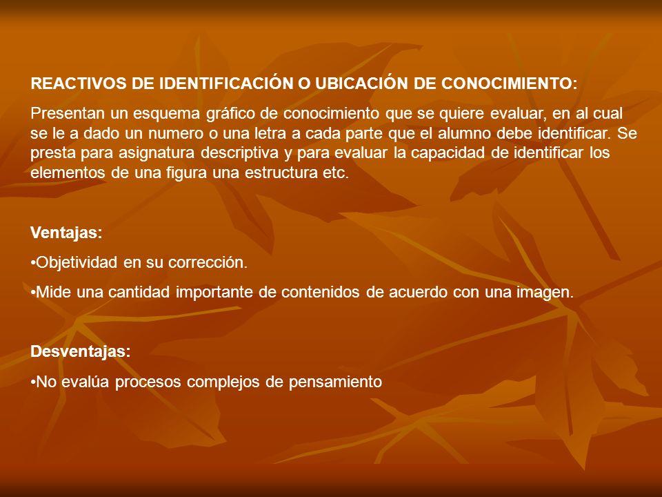 REACTIVOS DE IDENTIFICACIÓN O UBICACIÓN DE CONOCIMIENTO: