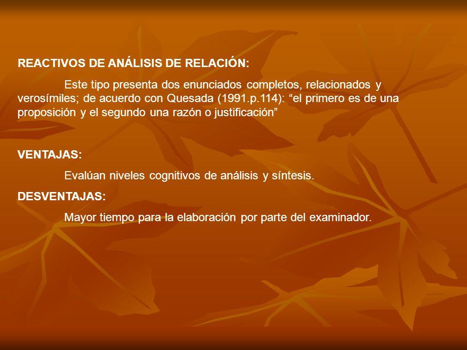 REACTIVOS DE ANÁLISIS DE RELACIÓN: