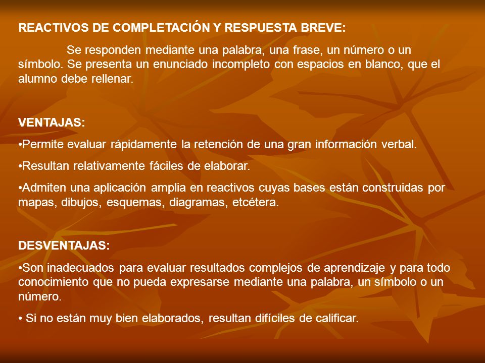REACTIVOS DE COMPLETACIÓN Y RESPUESTA BREVE: