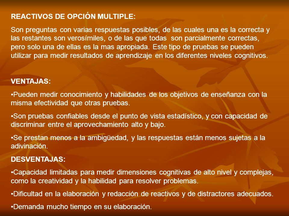 REACTIVOS DE OPCIÓN MULTIPLE:
