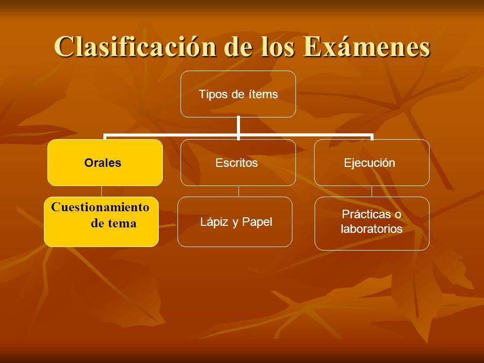 Clasificación de los Exámenes