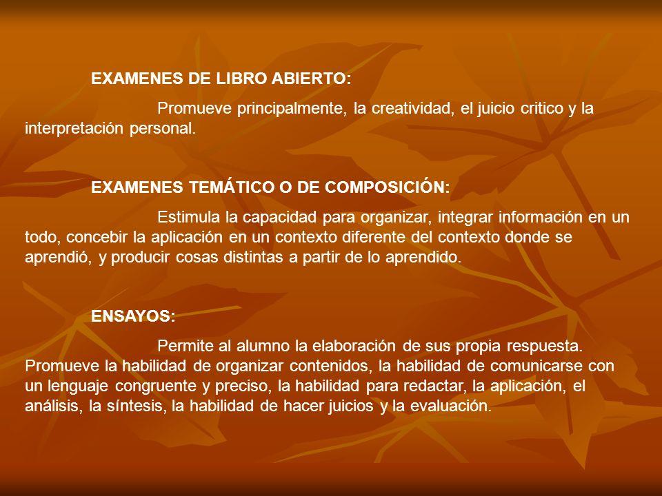 EXAMENES DE LIBRO ABIERTO: