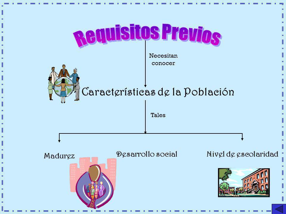 Requisitos Previos Características de la Población Desarrollo social