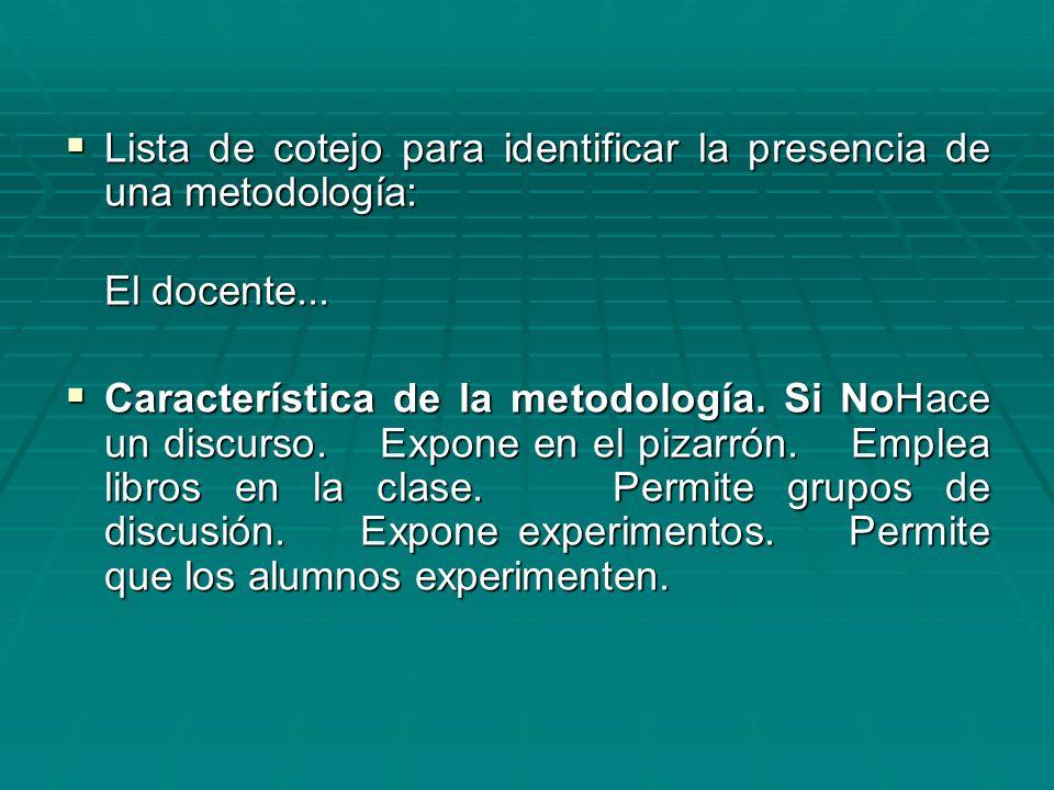 Lista de cotejo para identificar la presencia de una metodología:
