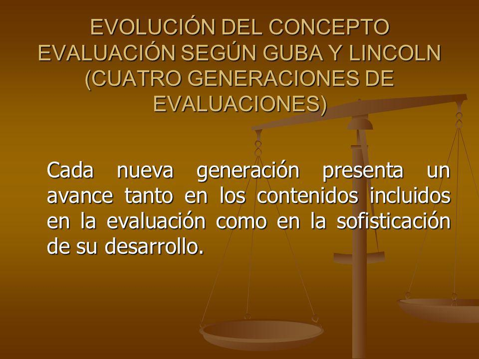 EVOLUCIÓN DEL CONCEPTO EVALUACIÓN SEGÚN GUBA Y LINCOLN (CUATRO GENERACIONES DE EVALUACIONES)